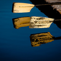 TAMPA, FL  -- Oars are reflected int he water near the Tampa Bay Rowing Club on the University of Tampa campus near the Cass Street Bridge in Tampa, Florida. (Chip Litherland for Bay Magazine)