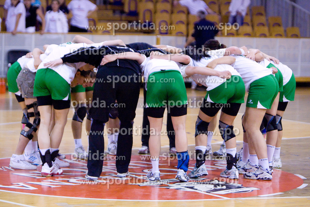 Players of Olimpija celebrate at first finals handball match of Slovenian Women National Championships between RK Olimpija and RK Krim Mercator, on May 16, 2009, in Arena Tivoli, Ljubljana, Slovenia. Olimpija won after 10 years vs Krim Mercator 30:28. (Photo by Vid Ponikvar / Sportida)