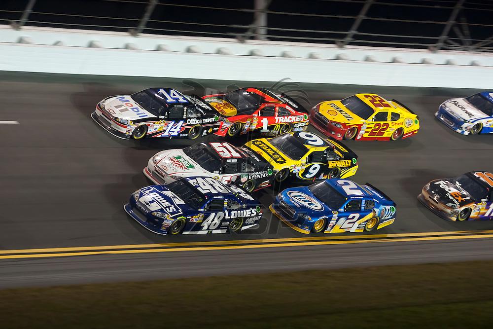 Daytona Beach, FL - Feb 18, 2012:  The NASCAR Sprint Cup teams take to the track for the Budweiser Shootout at the Daytona International Speedway in Daytona Beach, FL.