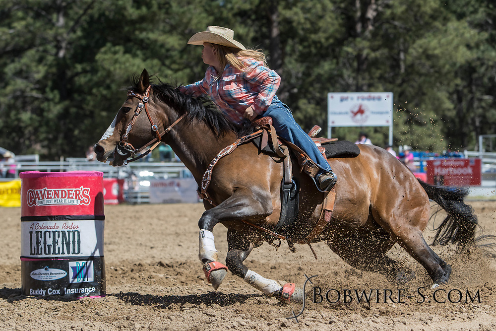 Jill Rexford makes her barrel racing run in the first performance of the Elizabeth Stampede on Saturday, June 2, 2018.