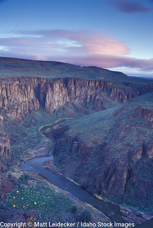 Idaho, lower Owyhee, Canyonlands,  river.  Ariel view of river near sun down.