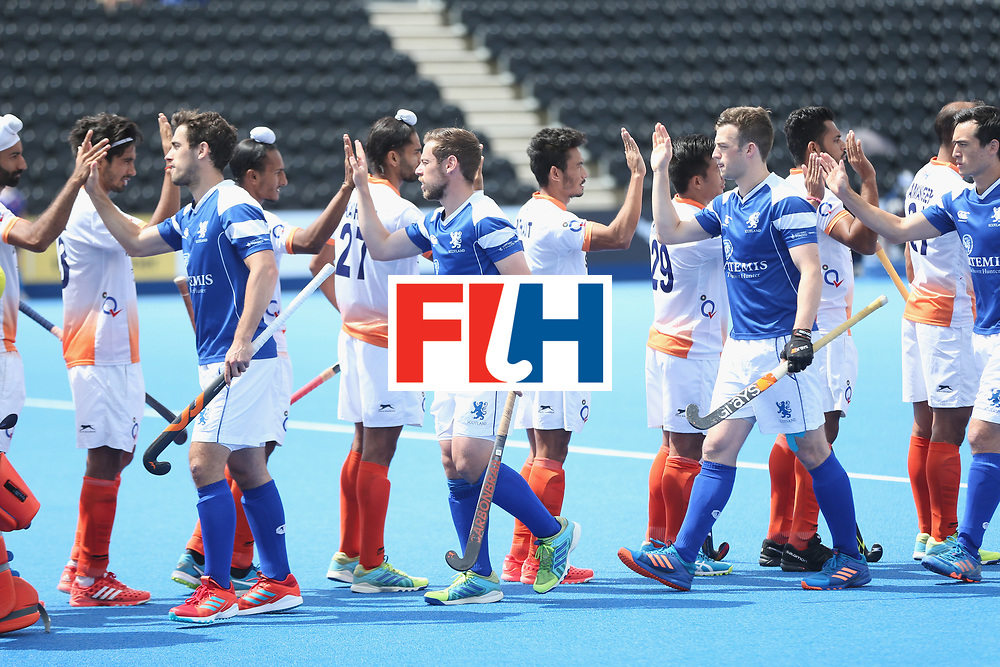 LONDON, ENGLAND - JUNE 15: Teams shake hands prior to the Hero Hockey World League Semi Final match between India and Scotland at Lee Valley Hockey and Tennis Centre on June 15, 2017 in London, England.  (Photo by Alex Morton/Getty Images)