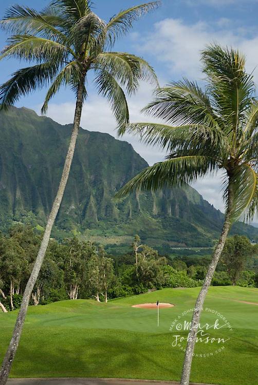 Koolau Golf Course and the Koolau Mountains, Oahu, Hawaii