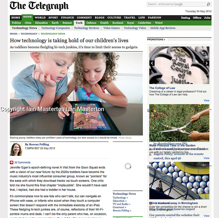 Tearsheet from The Telegraph; Kids playing with iPad