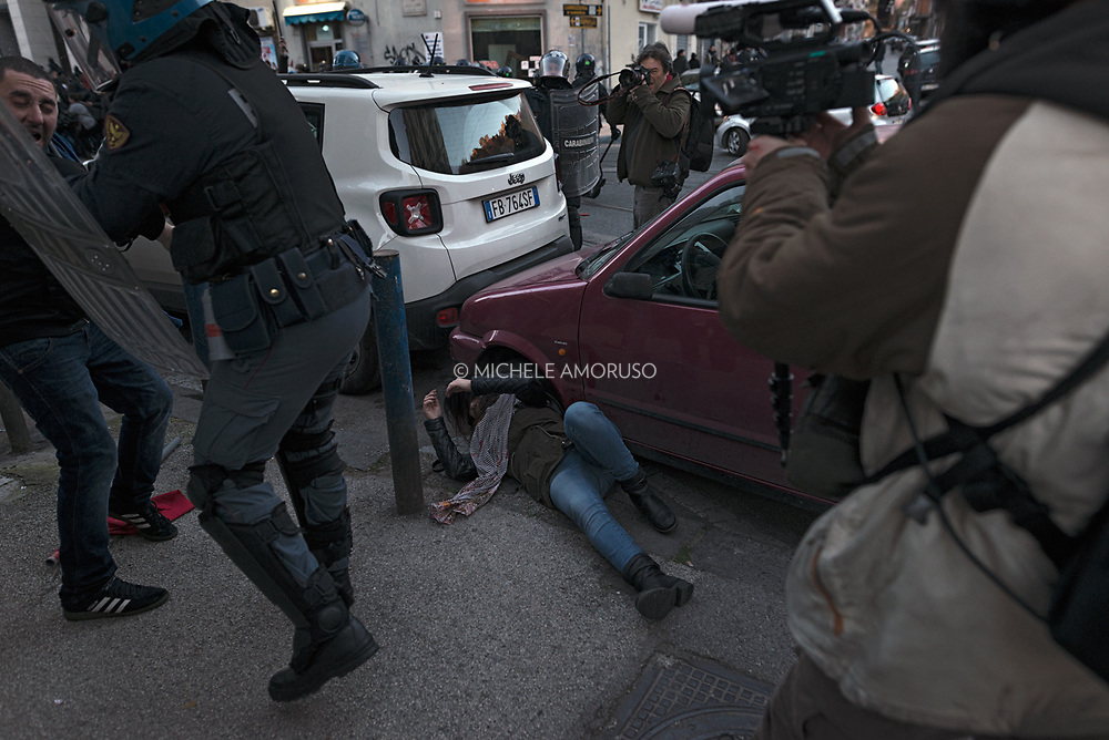 Violent clashes between police and protesters during the visit of Leader of the Lega Nord Matteo Salvini in Naples. (Italy, Naples. March 11 2017)