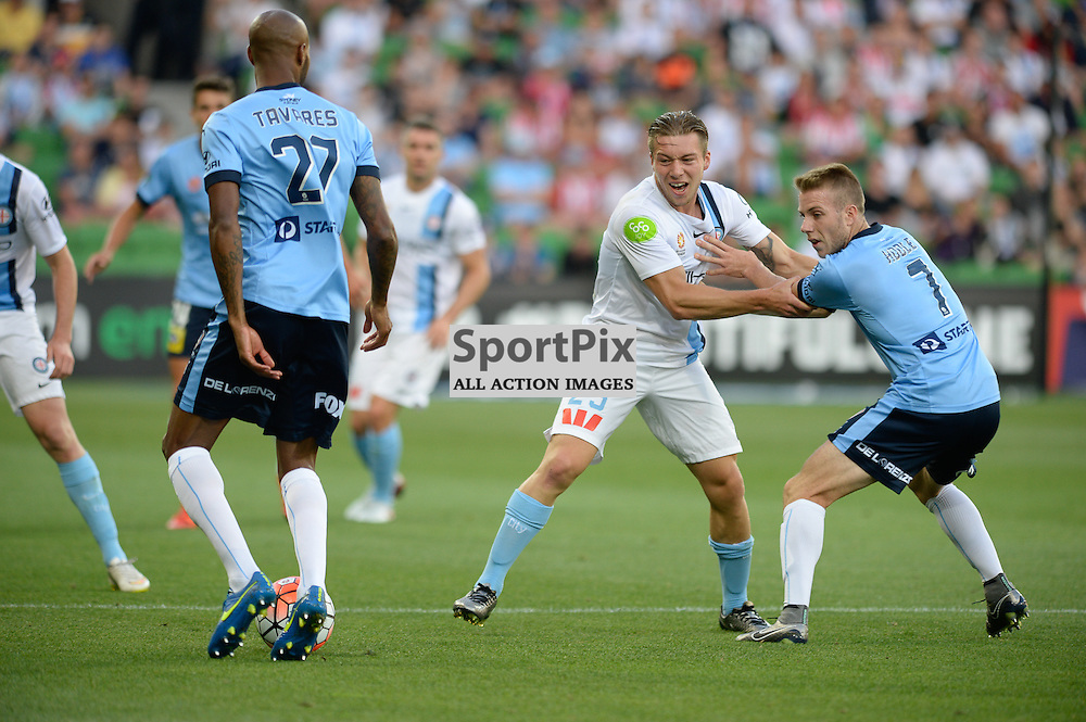 Michael Tavares of Sydney FC, Jacob Melling of Melbourne City, Andrew Hoole of Sydney FC - Hyundai A-League, January 2nd 2016, RD13 match between Melbourne City FC V Sydney FC at Aami Park, Melbourne, Australia in a 2:2 draw. © Mark Avellino | SportPix.org.uk