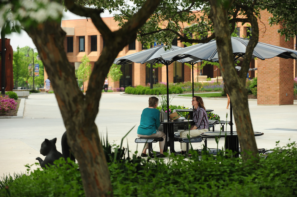 Two staff members enjoy lunch near the Risman Plaza on a warm spring day.