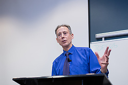 © Licensed to London News Pictures . 01/02/2014 . Salford , UK . PETER TATCHELL addresses an audience at Salford University today (1st February 2014) on the first day of February at the start of LGBT History Month . Photo credit : Joel Goodman/LNP