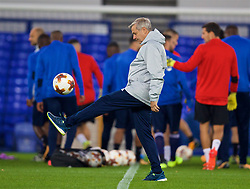 LIVERPOOL, ENGLAND - Wednesday, October 18, 2017: Olympique Lyonnais' head coach Bruno Génésio during a training session at Goodison Park ahead of the UEFA Europa League Group E match against Everton. (Pic by David Rawcliffe/Propaganda)
