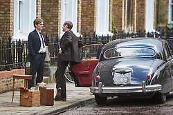 © Licensed to London News Pictures. 19/05/2015. OXFORD, UK. Filming of ITV drama Endeavour, telling the story of the early life of Inspector Morse, taking place in Wellington Square in Oxford.<br /> <br /> In this picture: Shaun Evans (left)(who plays Endeavour Morse) and Jack Laskey (2nd left) (who plays DS Peter Jakes)<br /> <br /> Photo credit : Cliff Hide/LNP