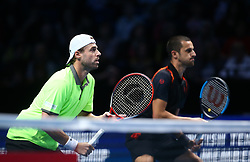 November 17, 2017 - London, United Kingdom - Olver Marach( AUT) and Mate Pavic (CRO) against Bob Bryan (USA ) and Mike Bryan(USA).during Day six of the Nitto ATP World Tour  Finals played at The O2 Arena, London on November 17 2017  (Credit Image: © Kieran Galvin/NurPhoto via ZUMA Press)