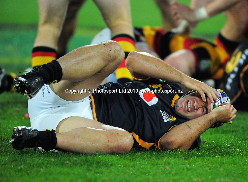 Wellington's Charlie Ngatai goes down injured. ITM Cup rugby union - Wellington Lions v Waikato at Westpac Stadium, Wellington, New Zealand on Saturday, 21 August 2010. Photo: Dave Lintott/PHOTOSPORT