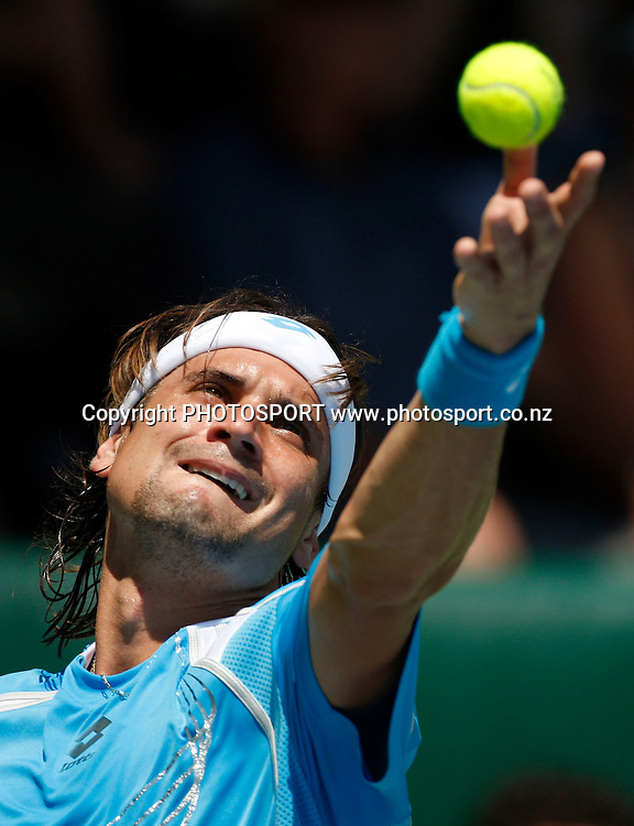 David Ferrer (ESP) in action versus Sam Querrey (USA) during the semi finals of the 2009 Heineken Open, Stanley st Tennis Centre, Auckland, New Zealand. Friday 16 January 2009. Photo: Andrew Cornaga/PHOTOSPORT