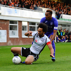 TELFORD COPYRIGHT MIKE SHERIDAN Marcus Dinanga of Telford goes in for a challenge with Josh Gowling of Hereford during the National League North fixture between Hereford FC and AFC Telford United at Edgar Street, Hereford on Tuesday, August 13, 2019<br /> <br /> Picture credit: Mike Sheridan<br /> <br /> MS201920-009