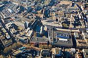 Nederland, Gelderland, Nijmegen, 11-02-2008; nieuw winkelcentrum Marienburg, rond de voormalige (klooster)kerk, Marienburgkapel; rechts van de kapel Marikenstraat (koopgoot); het oranje gebouw in de voorgrond is de bioskoop het  Lux theater (filmhuis); het eertijds verpauperde stadscentrum van Nijmegen heeft een nieuwe impuls gekregen door de bouw van het winkelcentrum naar masterplan van architect Sjoerd Soeters; ..luchtfoto (toeslag); aerial photo (additional fee required); .foto Siebe Swart / photo Siebe Swart