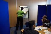 Role-play and positive thinking at a counselling workshop held for company staff in Borough, Southwark.