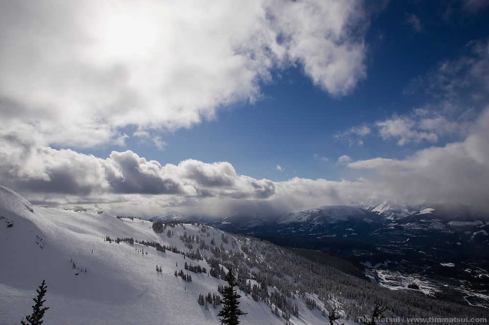 Skiers at Whistler-Blackcomb ski resort in British Columbia, Canada.