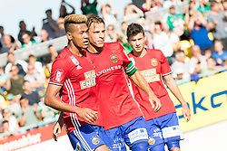 01.07.2017, Ertl Glas Stadion, Amstetten, AUT, Testspiel, SK Rapid Wien vs Celtic Glasgow, im Bild 01.07.2017, Ertl Glas Stadion, Amstetten, AUT, Testspiel, SK Rapid Wien vs Celtic Glasgow, im Bild Joelinton, Stefan Schwab und Tamas Szanto des SK Rapid Wien jubeln nach seinem Treffer zum 1:0 durch Joelinton (SK Rapid Wien) // during a friendly football match between SK Rapid Wien and Celtic Glasgow at the Ertl Glas Stadion in Amstetten, Austria on 2017/07/01. EXPA Pictures © 2017, PhotoCredit: EXPA/ Sebastian Pucher // during a friendly football match between SK Rapid Wien and Celtic Glasgow at the Ertl Glas Stadion in Amstetten, Austria on 2017/07/01. EXPA Pictures © 2017, PhotoCredit: EXPA/ Sebastian Pucher