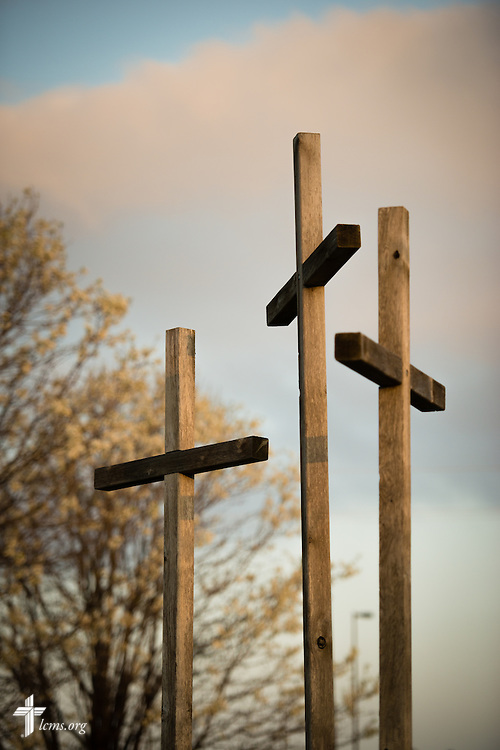 The sun rises Sunday, April 12, 2015, highlighting wooden crosses next to Mount Calvary Lutheran Church in Holdrege, Neb. LCMS Communications/Erik M. Lunsford