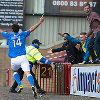 Motherwell v St Johnstone...30.08.14  SPFL<br /> Brian Graham celebrates his goal scored on his saints debut<br /> Picture by Graeme Hart.<br /> Copyright Perthshire Picture Agency<br /> Tel: 01738 623350  Mobile: 07990 594431