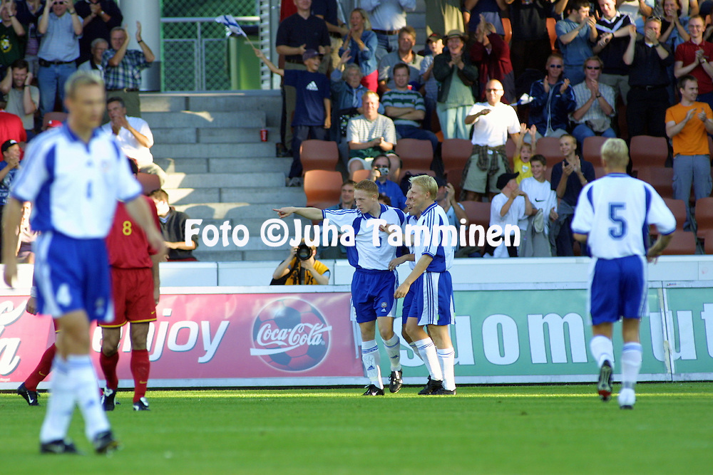 15.08.2001 Finnair Stadium, Helsinki, Finland. Friendly match Finland v Belgium. Mikael Forssell (FIN) celebrates after scoring.<br />