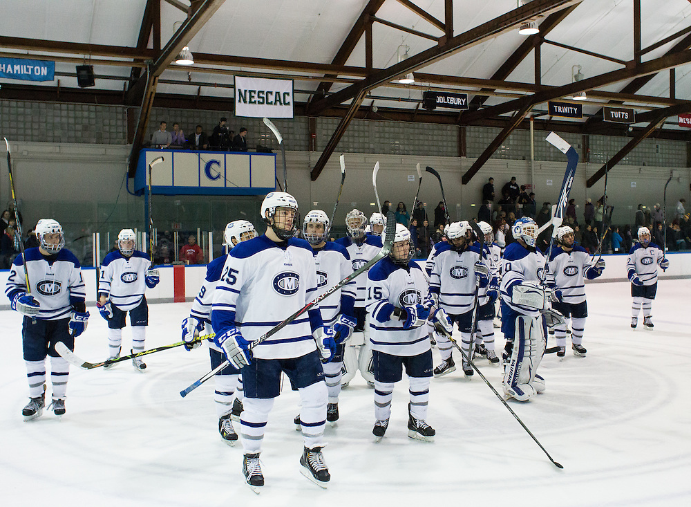 Colby College men's hockey team after an NCAA Division III college hockey game between Colby College and Bowdoin College at Alfond Rink at Alfond Arena, Saturday Dec. 1, 2012 in Waterville, ME. (Dustin Satloff/Colby College Athletics)