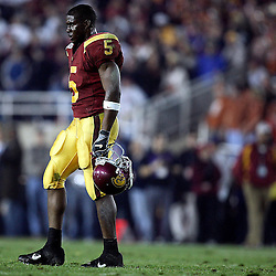 USC's Reggie Bush,5, dejected after the the National Championship to Texas at the Rose Bowl in Pasadena January 4. 2006.