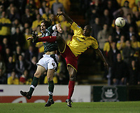 Photo: Lee Earle.<br /> Plymouth Argyle v Watford. The FA Cup. 11/03/2007.Plymouth's Lilian Nalis (L) clashes with Damien Francis.