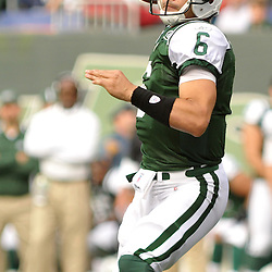 Nov 15, 2009; East Rutherford, NJ, USA; New York Jets quarterback Mark Sanchez (6) throws a pass during first half NFL action between the New York Jets and Jacksonville Jaguars at Giants Stadium.