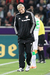 07.02.2014, Borussia Park, Moenchengladbach, GER, 1. FBL, Borussia Moenchengladbach vs Bayer 04 Leverkusen, 20. Runde, im Bild Trainer Sami Hyypiae (Bayer 04 Leverkusen) schaut kritisch, enttaeuscht // during the German Bundesliga 20th round match between Borussia Moenchengladbach and Bayer 04 Leverkusen at the Borussia Park in Moenchengladbach, Germany on 2014/02/07. EXPA Pictures © 2014, PhotoCredit: EXPA/ Eibner-Pressefoto/ Schueler<br /> <br /> *****ATTENTION - OUT of GER*****