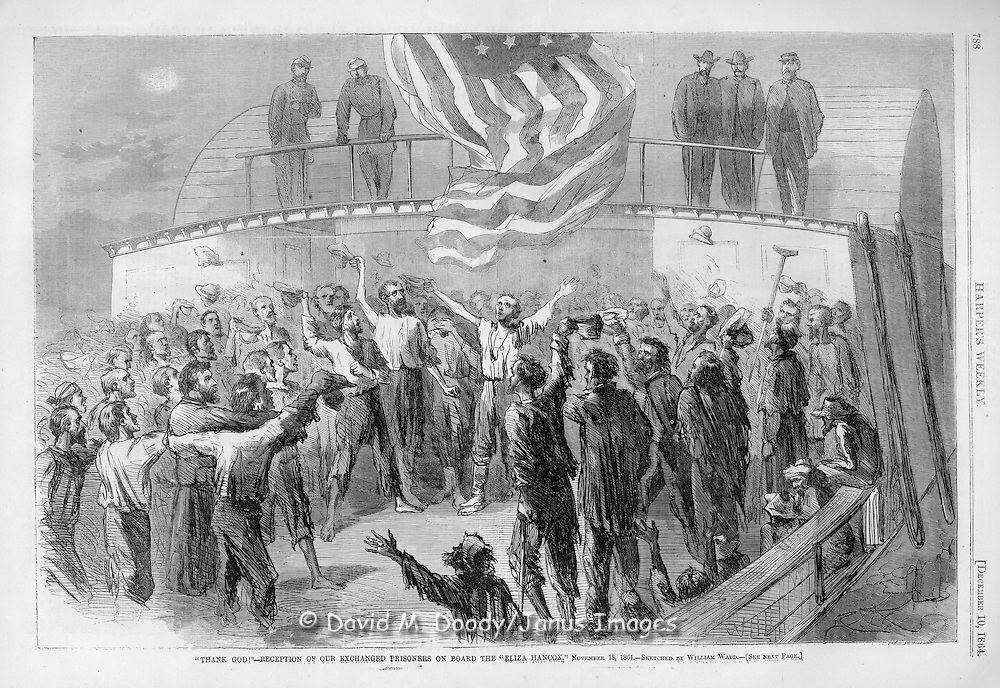 """Civil War: Exchanged Union prisoners on the """"Eliza Hancox"""" Nov 18, 1864 sketched by AR Waud Illustration from Harper's Weekly December, 10, 1864"""