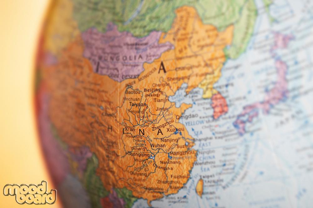 Political globe close-up of China