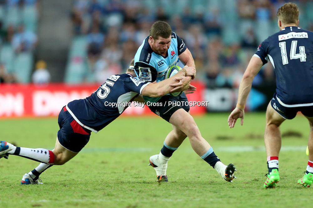 James Hilterbrand on debut. Waratahs v Rebels, Super Rugby Round 6. Played at Allianz Stadium, Sydney Australia on Sunday 3 April 2016. Copyright Photo: Clay Cross / photosport.nz