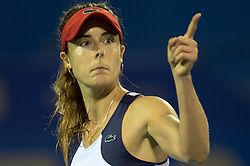 WUHAN, Sept. 27, 2017 Alize Cornet of France gestures during the singles third round match against Varvara Lepchenko of the United States at 2017 WTA Wuhan Open in Wuhan, capital of central China's Hubei Province, on Sept. 27, 2017. Alize Cornet won 2-1.  wll) (Credit Image: © Zhang Duan/Xinhua via ZUMA Wire)