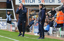 Peterborough United Manager Grant McCann encourages his players from the touchline alongside Shrewsbury Town manager Paul Hurst - Mandatory by-line: Joe Dent/JMP - 28/10/2017 - FOOTBALL - ABAX Stadium - Peterborough, England - Peterborough United v Shrewsbury Town - Sky Bet League One