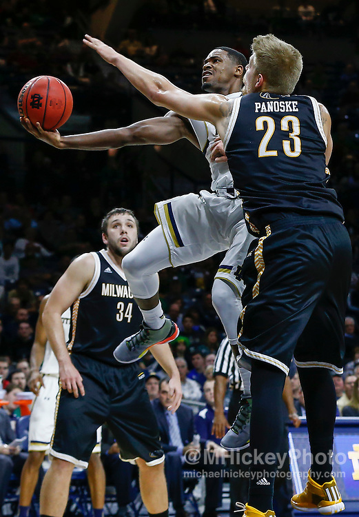 SOUTH BEND, IN - NOVEMBER 17: Demetrius Jackson #11 of the Notre Dame Fighting Irish shoots the ball against J.J. Panoske #23 of the Milwaukee Panthers at Purcell Pavilion on November 17, 2015 in South Bend, Indiana. Notre Dame defeated Milwaukee 86-78. (Photo by Michael Hickey/Getty Images) *** Local Caption *** Demetrius Jackson; J.J. Panoske