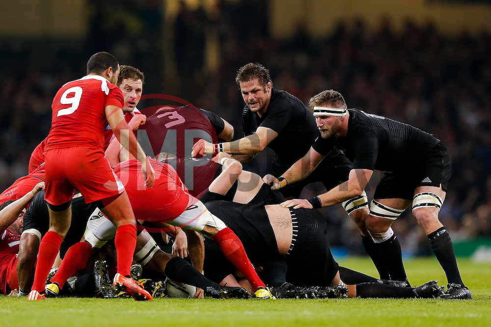 New Zealand Flanker Richie McCaw (capt) and Number 8 Kieran Read in action - Mandatory byline: Rogan Thomson/JMP - 07966 386802 - 02/10/2015 - RUGBY UNION - Millennium Stadium - Cardiff, Wales - New Zealand v Georgia - Rugby World Cup 2015 Pool C.