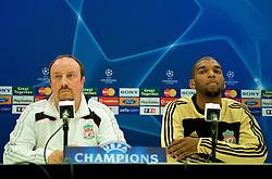 MARSEILLE, FRANCE - Monday, September 15, 2008: Liverpool's manager Rafael Benitez and Ryan Babel at a press conference ahead of the opening UEFA Champions League Group D match against Olympique de Marseille at Stade Velodrome. (Photo by David Rawcliffe/Propaganda)
