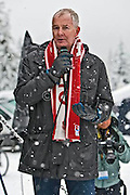 Vanoc CEO John Furlong speaks at the opening of the race. The Coast Cup #1 Nordic Ski race was the inaugural event at the Whistler Olympic Park. Organized by the Hollyburn Jackrabbit Ski Club, racers from 6 years and up raced on a variety of courses. Racers included members of the Canadian ParaNordic Cross-Country Ski Team. Saturday, Dec. 15, 2007