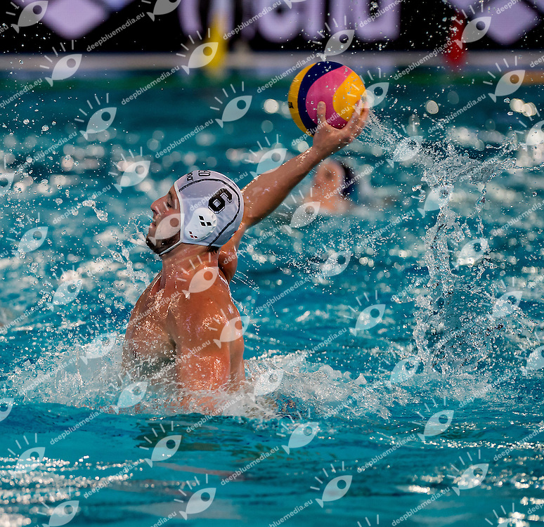 6 Robin LINDHOUT NED <br /> FINA Men's Water polo Olympic Games Qualifications Tournament 2016<br /> Final 5th place<br /> Netherlands NED (White) Vs Canada CAN (Blue)<br /> Trieste, Italy - Swimming Pool Bruno Bianchi<br /> Day 08  10-04-2016<br /> Photo L.Binda/Insidefoto/Deepbluemedia