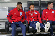 England Forward Marcus Rashford and England Midfielder Jesse Lingard during a general stadium walk around before the Slovenia vs England FIFA World Cup Group F Qualifier match at Stadion Stozce, Ljubljana, Slovenia on 10 October 2016. Photo by Phil Duncan.