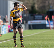 Newports' Jonanthan Morris shields his eyes from the bright sun light.<br /> <br /> Photographer Simon Latham/Replay Images<br /> <br /> Principality Premiership - Newport v Ebbw Vale - Sunday 4th February 2018 - Rodney Parade - Newport<br /> <br /> World Copyright © Replay Images . All rights reserved. info@replayimages.co.uk - http://replayimages.co.uk