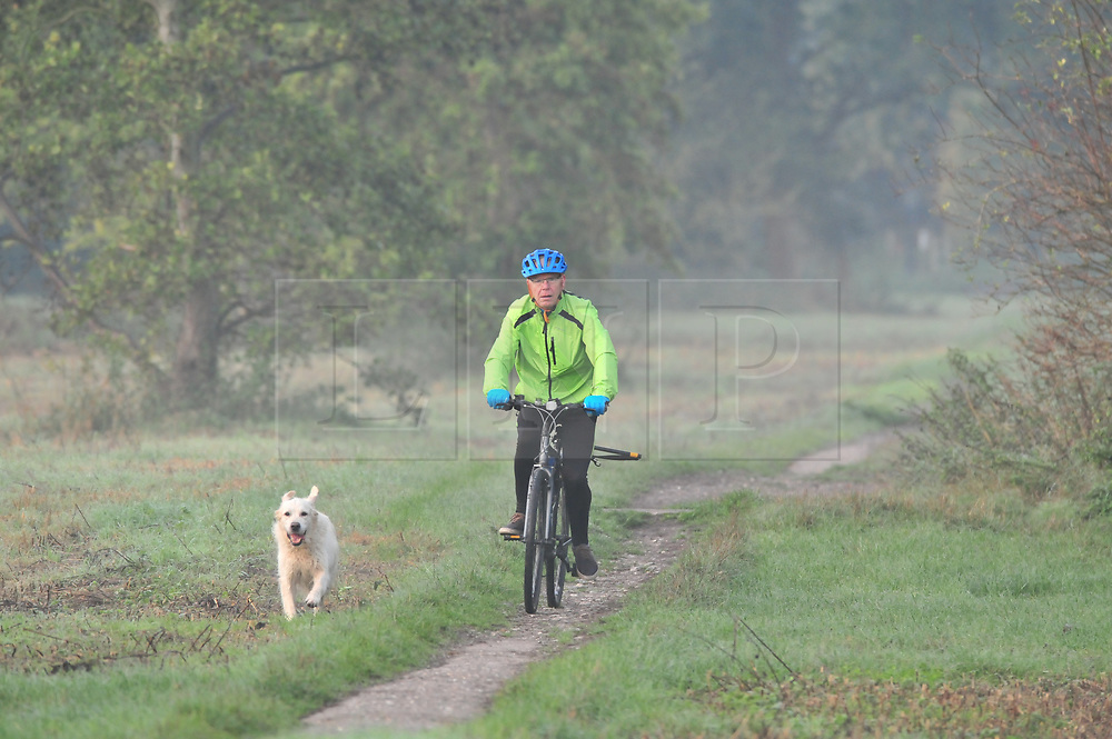 © Licensed to London News Pictures 20/10/2018<br /> SIDCUP,UK.<br /> A cyclists taking his dog for a run.<br /> A cold autumnal mist at Footscray Meadows this morning in Sidcup.<br /> Photo credit: Grant Falvey/LNP