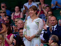 LONDON, ENGLAND - Saturday, July 7, 2018: British skeleton racer Elizabeth 'Lizzy' Yarnold in the Royal Box before the Gentlemen's Singles 3rd Round match on day six of the Wimbledon Lawn Tennis Championships at the All England Lawn Tennis and Croquet Club. (Pic by Kirsten Holst/Propaganda)