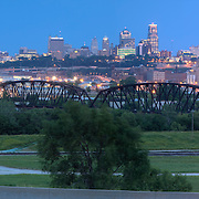 Panorama photo of Kansas City Missouri skyline at dusk, taken from Strawberry Hill neighborhood in Kansas City, Kansas for Performance Automotive.