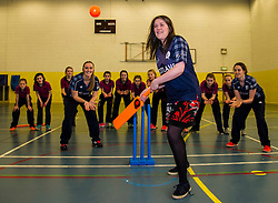 Pictured: Aileen Campbell tries her hand at facing the bowling<br /> Aileen Campbell MSP (Minister for Public Health and Sport) joined Abbi Aitken (Scotland captain) Steve Knox (Scotland women's coach), Nicola Wilson (CS women's participation manager) and Oli Rae (opener for Edinburgh and Scotland) today at Edinburgh' Fettes College to promote women's cricket ahead of the national team's trip to Sri Lanka for the ICC Women's World Cup Qualifier (in Sri Lanka) on 29 January. <br /> Ger Harley   EEm 24 January 2017