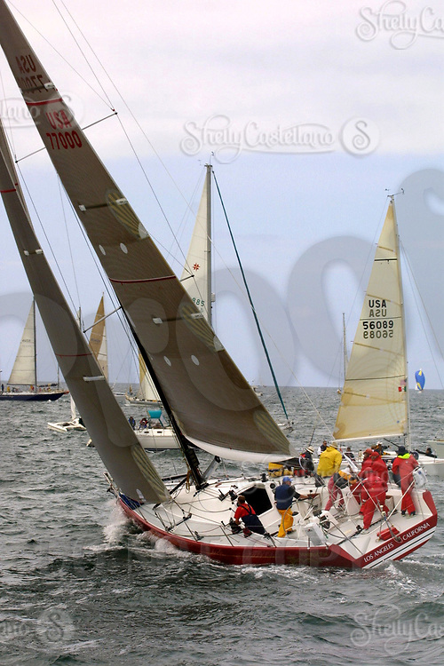 Apr 26, 2002; Newport Beach, California, USA; 'Pendragon' heads out into the Pacific ocean at the start of the 55th annual 125 mile Newport to Ensenada Yacht Race.<br />