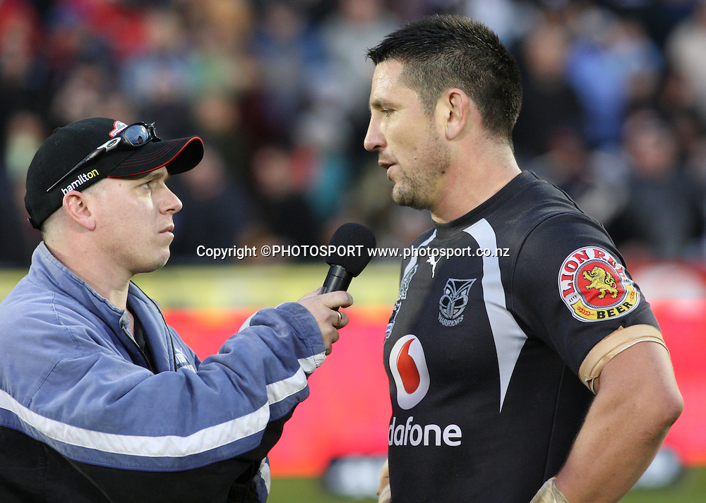 Warriors captain Steve Price talks to Dale Budge from Radio Sport. NRL, Vodafone Warriors v Penrith  Panthers, Mt Smart Stadium, Auckland, Sunday 31 August 2008. Photo: Andrew Cornaga/PHOTOSPORT