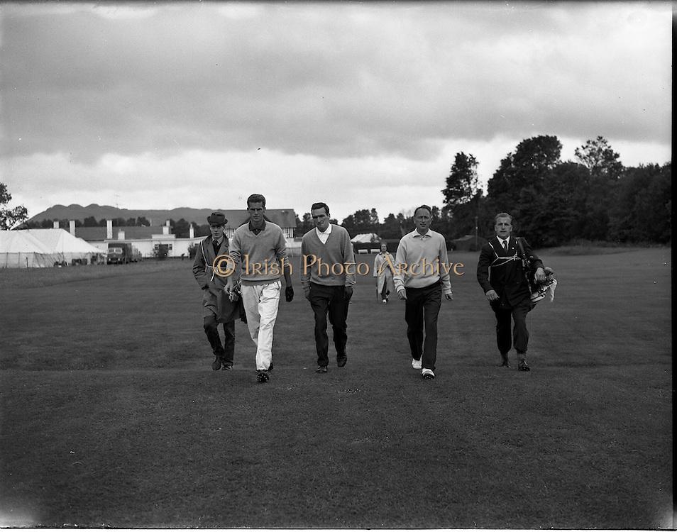 21/07/1962<br /> 07/21/ 1962<br /> 21 July 1962<br /> Woodbrook Irish Hospitals' Golf Tournament at Woodbrook Golf Course, Dublin, Saturday. S. Davies, (South Africa); J. Kinsella (Castle, Dublin) and J.J. McEvoy (Belvoir Park) on the 1st Tee.
