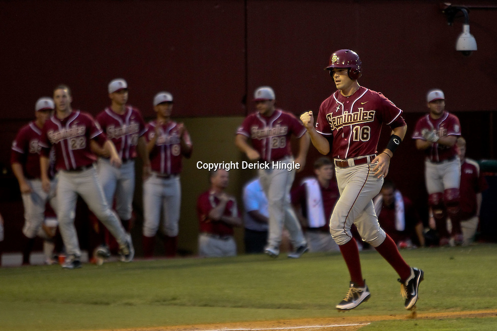 June 04, 2011; Tallahassee, FL, USA; Florida State Seminoles first baseman Jayce Boyd (16) scores during the third inning of the Tallahassee regional of the 2011 NCAA baseball tournament against the Alabama Crimson Tide at Dick Howser Stadium. Mandatory Credit: Derick E. Hingle